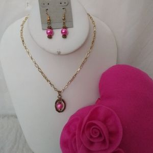 Valentine Gift Set Earrings Pillow Pink Silver